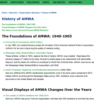 April 2015 view of History of AMWA web page